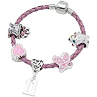 Children's Pink Leather Happy 11th Birthday Charm Bracelet With Lovely Jewellery Hut Gift Pouch - Girl's & Children's Birthday Gift Jewellery