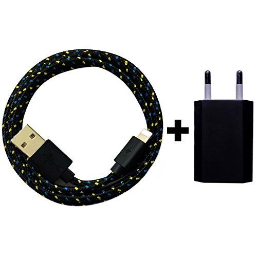 USB Netzteil 5V 1A + 1m Nylon USB Ladekabel Datenkabel Set kompatibel mit [Apple iPhone 10 X 8 8 Plus 7 7 Plus 6S 6S Plus 6 6 Plus 5S 5C 5 SE, iPad   iPod] schwarz Schwarz Ipod Netzteil