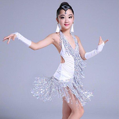 leid Kinder Wettbewerb Kostüm Kinder Latein Tanz Kostüm Quaste Lila Weiß Blau, 130cm, white (Tanz Kostüme Strapse)