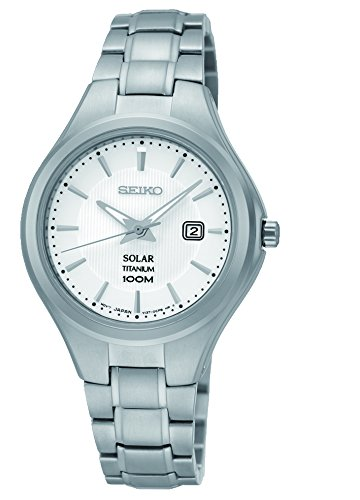 Seiko Women's Quartz Watch with White Dial Analogue Display and Silver Stainless Steel Bracelet SUT199P1