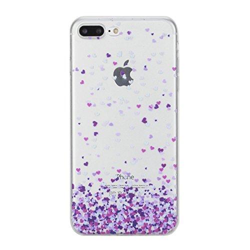 Per Apple iPhone 7 Plus 5,5 pollici,Sunrive® Custodia Cover Case in molle Trasparente Ultra Sottile TPU silicone Morbida Flessibile Pelle Antigraffio protettiva(tpu fantasma) tpu cuore