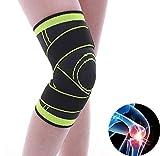 DHM Knie-Unterstützung Knee Kompression Sleeve Support Silikon-Crashpad Knee Brace Super Elastic Help Joint Pain Relie Geeignet Für Running Sports (1Pair),Green,M