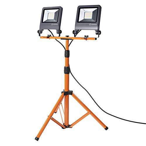 LEDVANCE LED Arbeitslicht, Leuchte für Außenanwendungen, Kaltweiß, Tripod-Ständer, LED Worklight, 2 x 50 Watt