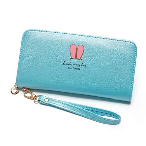 Pinhan Cute Bunny Rabbit Ohr Form dekorative Brieftasche Mode PU Leder Damen Kartenhalter Reißverschluss Münzfach Clutch mit Handschlaufe, himmelblau (Make-up Bunny Einfach)