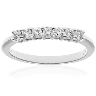 Naava Platinum Eternity Ring, IJ/I Certified Diamonds, Round Brilliant