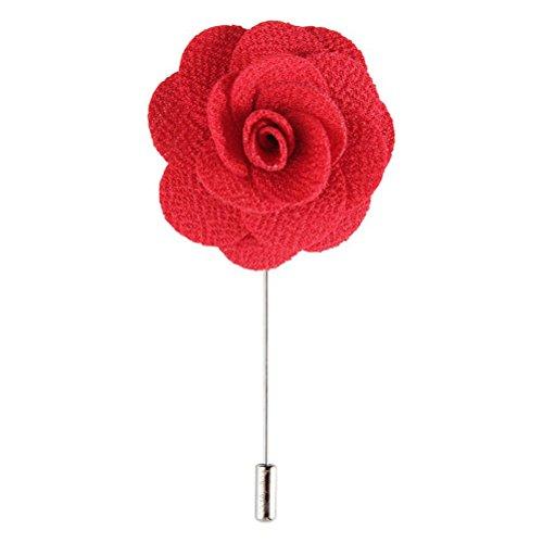 (Pixnor Mens Revers Brosche Blume Knopfleiste Handarbeit für das Kostüm rot)