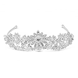 Jon Richard Crystal Embellished Sunflower Double Row Tiara Silver