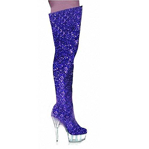 Donne Lungo Stivali Al di sopra Ginocchio Cristallo Luminosa Pelle Super Tacchi alti Discoteca polo Danza Prestazione Scarpe