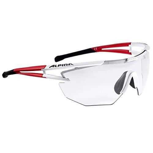 Alpina Performance Eye-5 Shield VL+ Sonnenbrille, White Matt-Red-Black, One Size