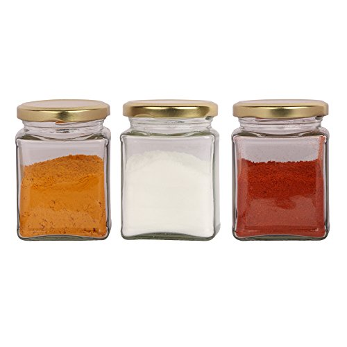 Good quality 150 Gram capacity Glass jar with good gold color cap,(SET OF 6 PCS )Suitable to use in your home, kitchen , office , to store your impotent item ,it's natural glass made in India , and rust proff air tight cap no problem to keep your food items too.it's very suitable for your masala rack in kitchen (6)
