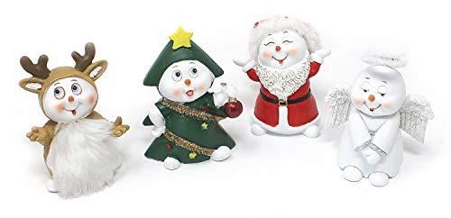 TEMPELWELT 4 x Deko Figur Schneemann mit Kostüm im Set je 8 cm hoch, aus Polystein weiß rot grün braun, Schneemänner Figuren Geschenkdeko Winter - Je Hoher Kostüm