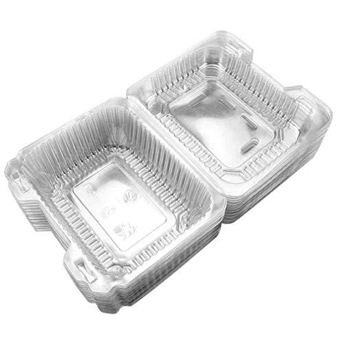 heliltd Einweg Mahlzeit Box Set, transparent BPA frei Snap-tight Deckel für Kuchen Cupcakes Obst Geburtstag Party-Paket-Boxen 50Pcs Snap Tight