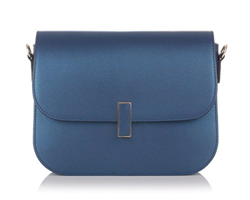 Laura Moretti - Umhängetasche aus Leder mit Umschlag Blau