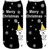 Likecrazy Bequeme Damen Crew Socken Winter weiche warme dicke Weihnachtssocken Weihnachten bunte Baumwolle Vintage Kurze Knöchel Socken