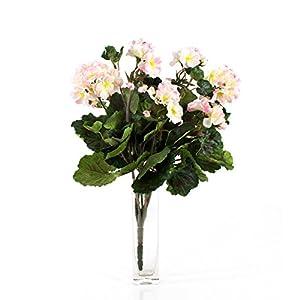 artplants.de Decorativa Mata de geranios Merle, Blanco-Rosa, 45cm, Ø 25cm – Flor Artificial – Planta sintética