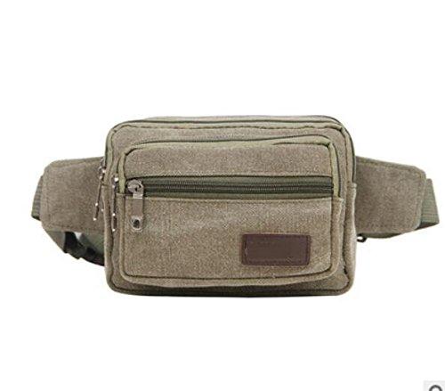 ZYT Multi-Funktions-Zippertaschen und Frauen Retro Leinwand Handy Tasche army green