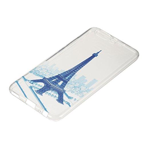 Coque Huawei P10 Plus,Coque en Soft Silicone TPU Transparente pour Huawei P10 Plus,Ekakashop Ultra Slim-fit Jolie Dolphins Jouer Dessin Antidérapant Coque de Protection TPU Flexible Souple Case Crysta Tour Bleu