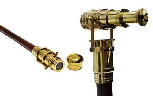 Teleskop Gehstock aus indischem Palisanderholz, faltbar, mit integriertem Fernrohr aus Messing