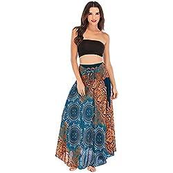 HCFKJ Faldas Mujer Cortas Falda Halter Floral con Cuello Halter con Flores EláSticas De Hippie Bohemio Y Bohemio De Las Mujeres Vestido Halter Azul