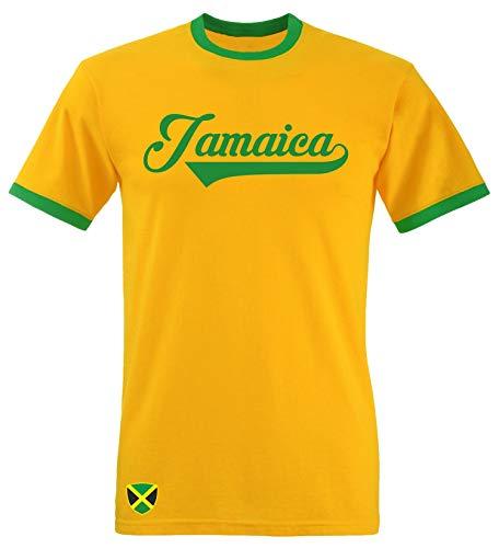 Jamaika Ringer Retro TS - gelb - WM 2018 T-Shirt Trikot Look (M) -