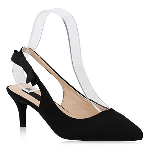 Damen Pumps Slingpumps Veloursleder-Optik Stiletto Party Mid Heels 153771 Schwarz 39 Flandell