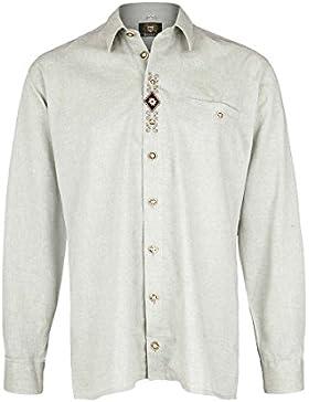 OS Trachten Herren Herren Trachten-Krempelarm-Hemd Comfort Schnitt Grün-Grau, 53-Grün-Grau,