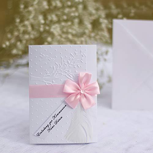 10 personalisierte Einladungskarten Einladung zur Taufe Einsegnung Firmung Kommunion Konfirmation Lebensbaum Tauben Feder rosa weiß Mädchen Handarbeit binnbonn