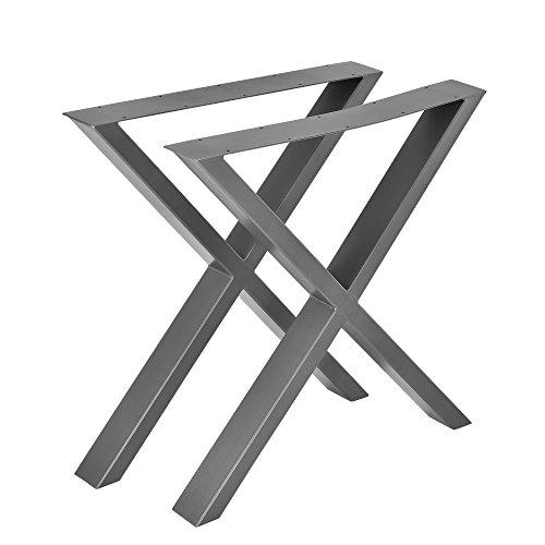 [en.casa] 2X Tischgestell 69x72cm DIY Tisch Esstisch Esszimmertisch Tischuntergestell Tischkufen Tischbein X-Gestell Stahlgrau Stahl
