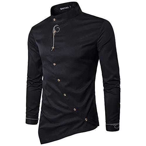 Herren Klassische Button-down-shirt (Haop YURQ Herren Premium Langarmhemden, Stehkragen Klassisch Pure Color, Fit Button Down Shirt,Black,L)