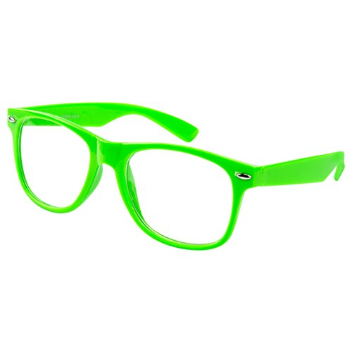 Ciffre Nerdbrille Sonnenbrille Stil Brille Pilotenbrille Vintage Look Neon Grün Klar Glas KG5 -