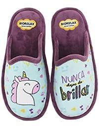 Biorelax by Zapattu - Zapatillas de Casa Mujer Unicornio Nunca Dejes de Brillar