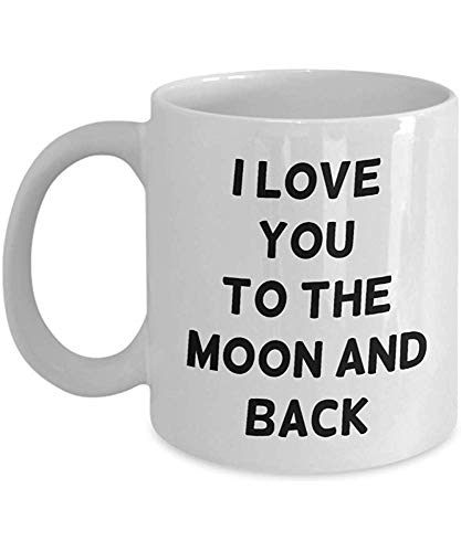 HAHAMING Valentine's Day Coffee Mug – I Love You to The Moon and Back – Funny Gifts for Girlfriend from Boyfriend