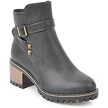HAOLIEQUAN Frauen Stiefeletten Plattform Winter Stiefel Damen Schuhe Grau Kuh Wildleder Frauen Motorrad Stiefel Größe 34-39 Stiefel & Stiefeletten Schuhe & Handtaschen