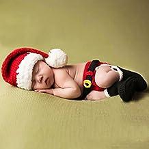 Feichen Gorro Pantalones cortos calcetines de punto de ganchillo Para Bebé Fotografía Ropa de Navidad para bebés