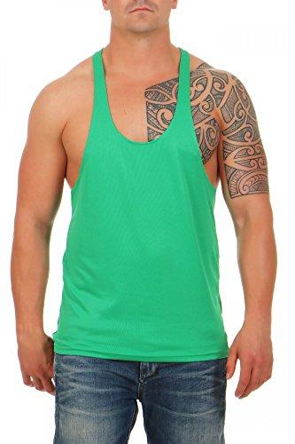 Herren Stringer Bodybuilding Tank Top Muskel Shirt Vest, Größe:XL, Farbe:Grün (Grünen Tank Top Armee)