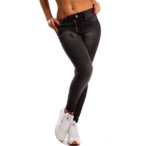 Damen Skinny Jeans Stretch Slim-Fit Denim Destroyed-Effekten Schwarz