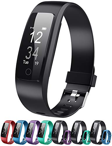 DBPOWER Fitness Tracker Armbänder mit Herzfrequenz Activiey Tracker Schrittzähler Bluetooth Fitness Watch Schlafüberwachung, Smart Watch mit Anruf/SMS für iOS/Android Smartphone