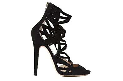 Jimmy Choo women's suede sandals with heel stretch black UK size 6 131VIVASSU