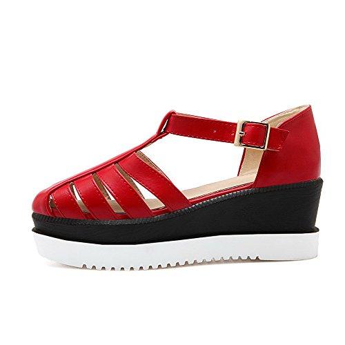VogueZone009 Femme à Talon Correct Pu Cuir Rond Boucle Chaussures Légeres Rouge