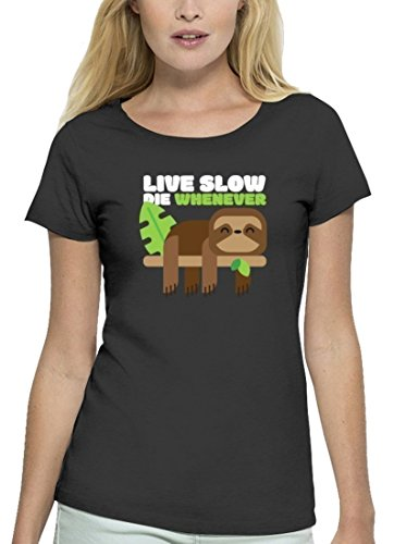 Faultier Premium Damen T-Shirt aus Bio Baumwolle Live Slow Die Whenever Stanley Stella Anthrazite