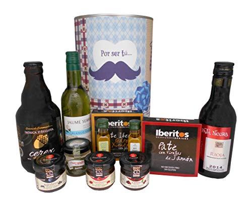 Cesta regalo en lata gigante con productos Gourmet para hombre