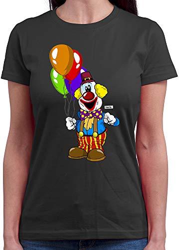 Dunkle Krankenschwester Kostüm - HARIZ  Damen T-Shirt Rundhals Clown Luftballons Fröhlich Karneval Kostüm Inkl. Geschenk Karte Dunkel Grau XL