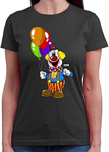 HARIZ  Damen T-Shirt Rundhals Clown Luftballons Fröhlich Karneval Kostüm Inkl. Geschenk Karte Dunkel Grau L (Womens T-shirt Lustig Dunklen)