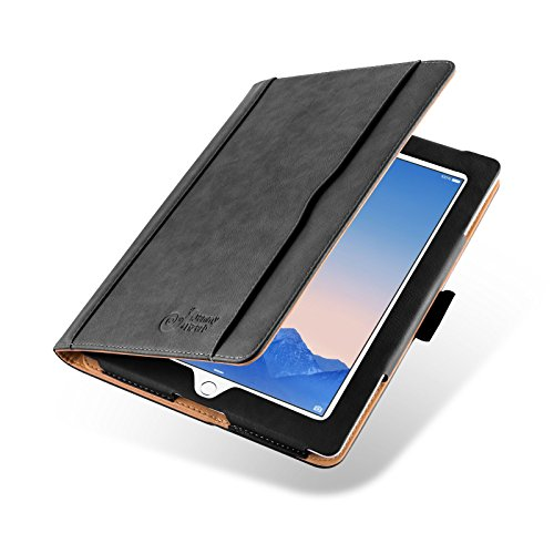 JAMMYLIZARD Hülle für iPad 4 | Ledertasche Flip Case [Business Tasche] Leder Smart Cover Lederhülle für iPad 4. 3. und 2. Generation, Schwarz und Honig [mit Eingabestift und Pencil Halter]