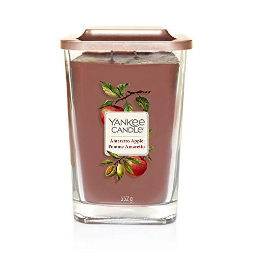 Yankee Candle Elevation Kollektion mit Plattformdeckel Große quadratische Duftkerze mit 2 Dochten, Amaretto Apple (Yankee Red Candle Wreath Apple)