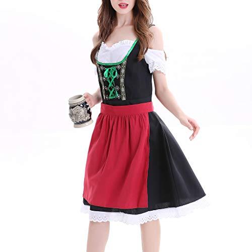 Yaohxu Oktoberfest Outfit für Bekleidung,Frauen Plus Size Dirndl Kleid Karneval Bayerisches Oktoberfest Cosplay Kostüme,Kostüme für Erwachsene,Schwarz,XXL (Size Plus Kostüme-ideen)