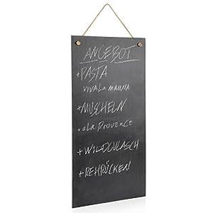 Sänger Schiefertafel mit Kreide | Maße der Schieferplatte LxB: 60x30 cm | Rustikales Memoboard aus Naturstein | Mit Kreide zum Notieren wichtiger Sachen auf der Pinnwand