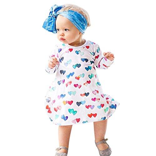 OverDose Kleinkind Baby Kind Mädchen Bunte Herz Druck Prinzessin Dress Daily Langarm Kleider T-shirt Blusekleid Clothes Outfits(2T,A-Weiß)
