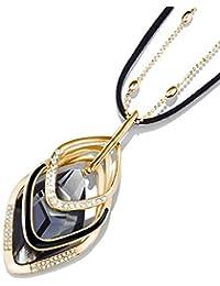 881ab7289e21 LCHNSXL Collar Declaración Geométrica Larga Golden Bead + Cadena De Cuero  De Moda Grandes Collares Y