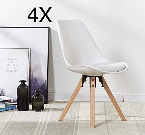 P&N Homewares® (Satz von 4 Sofia Eiffelturm inspiriert Stuhl aus Kunststoff Retro Weiß Schwarz Grau Rot Gelb Pink Grün Blau weiß Skandinavischen Stuhl (Weiss)
